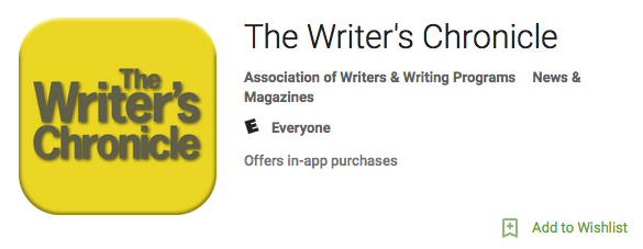 Writer's Chronicle App with yellow background logo