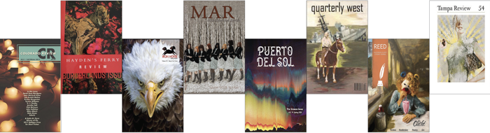 Staggered literary journal covers: Colorado Review, Hayden's Ferry Review, Iron Horse, Mar, Puerto Del Sol, Quarterly West, Reed, and Tampa Review