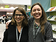 Lori Ostlund with her mentee, Whitney Wimbish, at the AWP bookfair booth in Los Angeles, 2016.