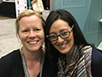 Brandi Megan Granett with her mentee, Taylor Lauren Ross, at the AWP bookfair booth in Los Angeles, 2016.